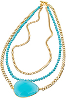 Janna Conner Designs Gold Apatite and Turquoise Beaded Three Strand Pendant Necklace
