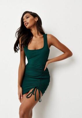 Missguided Green Rib Scoop Cami Ruched Mini Dress