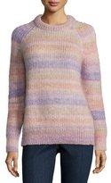 Michael Kors Long-Sleeve Striped Shaker Sweater, Thistle