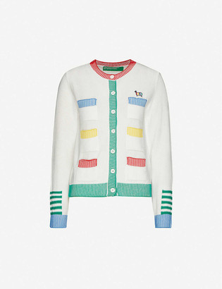 Benetton Sheep-embroidered striped-trim cotton-knit cardigan