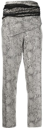 Y/Project High-Waisted Python-Effect Trousers