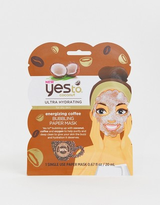 Yes To Coconut & Coffee Bubbling Face Mask - Hydrate and Energize (Single Use)-No Color