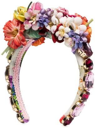 Dolce & Gabbana Embellished Floral Headband