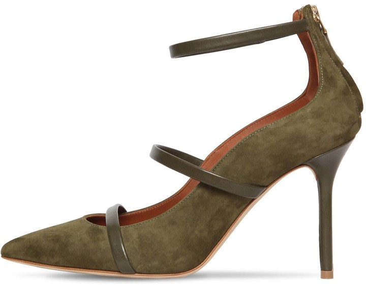 Malone Souliers 85mm Robyn Leather & Suede Pumps