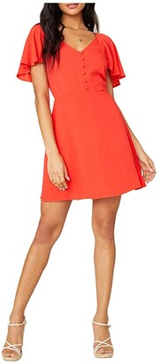 BB Dakota Rayon Crepe Button Front Dress with Back Smocking (Coral) Women's Dress