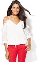 New York & Co. 7th Avenue - Ruffled Cold-Shoulder Blouse