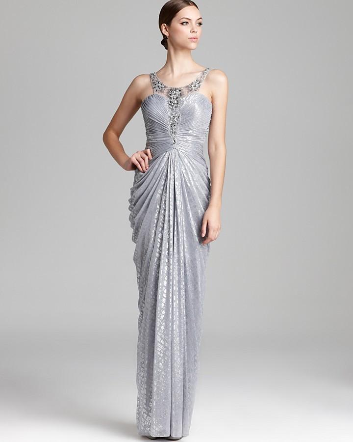 Adrianna Papell Metallic Gown - Sleeveless Illusion Neck