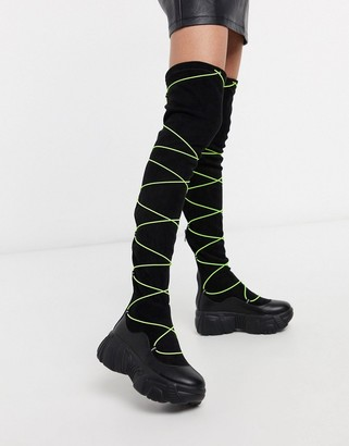 Koi Footwear Cyber Fox vegan over the knee boot in black with fluoro lacing