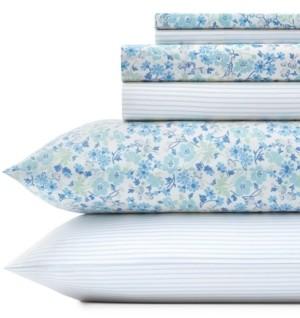 Laura Ashley Jaynie/Ticking Stripe Sheet Set, King Bedding
