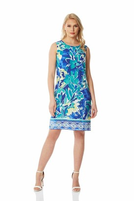 Roman Originals Women Abstract Leaf Shift Dress - Ladies Spring Summer Holiday Cruise Lightweight Leaf Printed Round Neck Sleeveless Up and Down Comfortable Day Dresses - Blue - Size 20