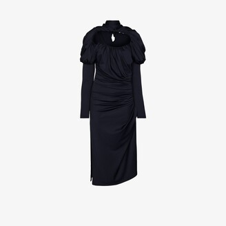 Richard Malone Ruched Midi Dress