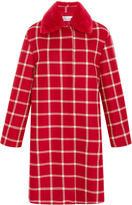 RED Valentino Cavalry Check Coat With Fur Collar