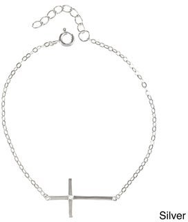 La Preciosa Sterling Silver Sideways Cross Single CZ Bracelet