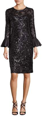 Teri Jon By Rickie Freeman Sequined Bell Sleeve Sheath Dress