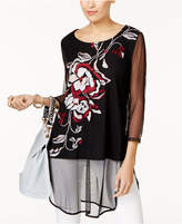 Alfani Embroidered Mesh Tunic, Created for Macy's