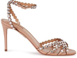 Aquazzura Tequila 85 blush leather sandals