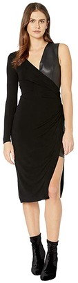 BCBGMAXAZRIA Mixed Media Dress (Black) Women's Dress