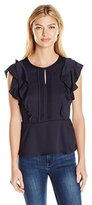 Collective Concepts Women's Flutter Sleeve Top with Pin Tuck Detail