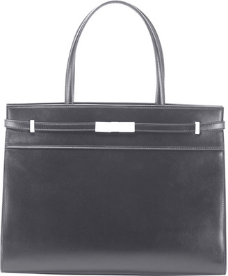 Saint Laurent Manhattan Medium Belted Leather Shoulder Tote Bag - Golden Hardware
