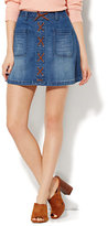 New York & Co. Soho Jeans - Lace-Up Mini Skirt - Theatrical Blue Wash