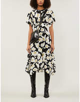 BA&SH Black Floral Print Fairy Crepe Midi Dress, Size: M