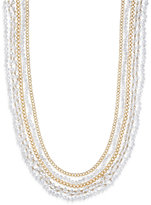 ABS by Allen Schwartz Gold-Tone Multi-Row Beaded Crystal Layer Necklace