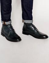 Ben Sherman Chuka Boot In Leather - Blue