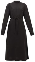 Jil Sander Stand-collar Belted Twill Shirtdress - Womens - Black