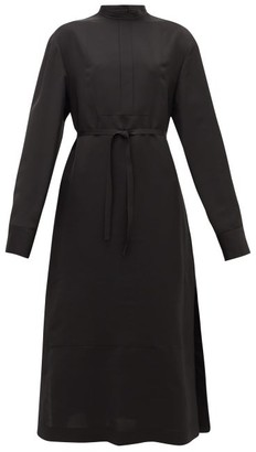 Jil Sander Stand-collar Belted Twill Shirt Dress - Black