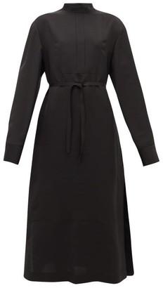 Jil Sander Stand-collar Belted Twill Shirt Dress - Womens - Black