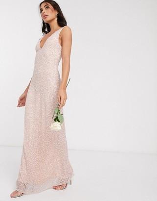 Beauut embellished sleek maxi dress in blush