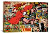 iCanvas Marvel Comics Book Thor on Thor on Covers and Panels Graphic Art on Wrapped Canvas