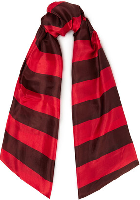 American Vintage Striped Silk-voile Scarf