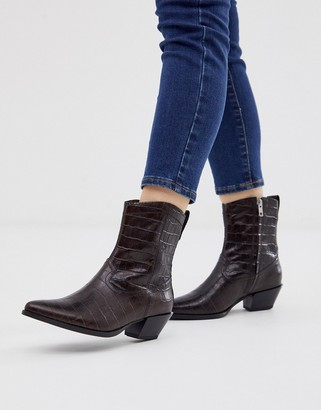 Vagabond Emily mid heeled ankle boots in brown croc leather
