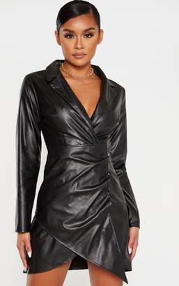 PrettyLittleThing Black Faux Leather Long Sleeve Button Up Detail Bodycon Dress