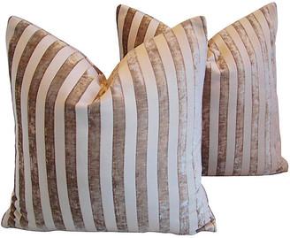 One Kings Lane Vintage French Velvet Striped Pillows - Set of 2