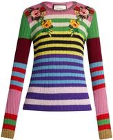 Gucci Floral-appliqué striped wool-blend sweater