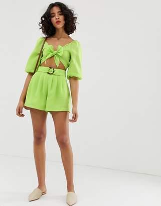 Moon River paperbag shorts-Green