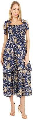 La Vie Rebecca Taylor Sleeveless Talita Smock Dress (Soft Indigo Combo) Women's Clothing