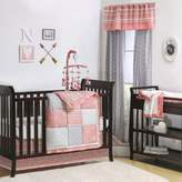 The Peanut Shell Crib Bedding Collection in Coral/Grey