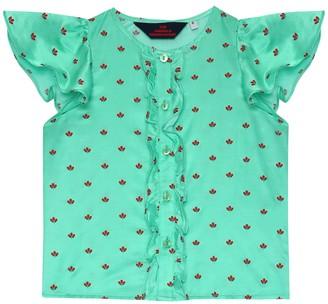 The Animals Observatory Parakeet printed silk-blend blouse
