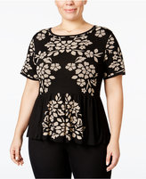 INC International Concepts Plus Size Jacquard Peplum Top, Only at Macy's