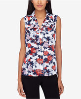 Tahari Asl Floral-Print Button-Front Blouse