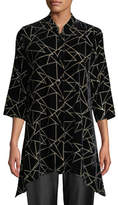 Caroline Rose Triangle Devore Velvet Side-Fall Button-Front Tunic