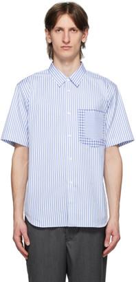 Comme des Garçons Homme Deux Blue and White Stripe Check Shirt
