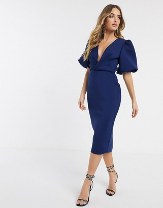Asos Design DESIGN bubble sleeve twist detail midi pencil dress-Navy