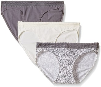 Hanes Ultimate Women's 3-Pack Cotton Stretch with Lace Bikini Panties