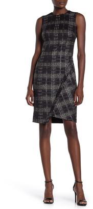 Tommy Hilfiger Scuba Foil Plaid Asymmetrical Dress