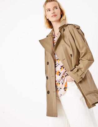 Marks and Spencer Cotton Double Breasted Trench Coat