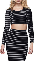Good American Long-Sleeve Striped Crop Top - Inclusive Sizing